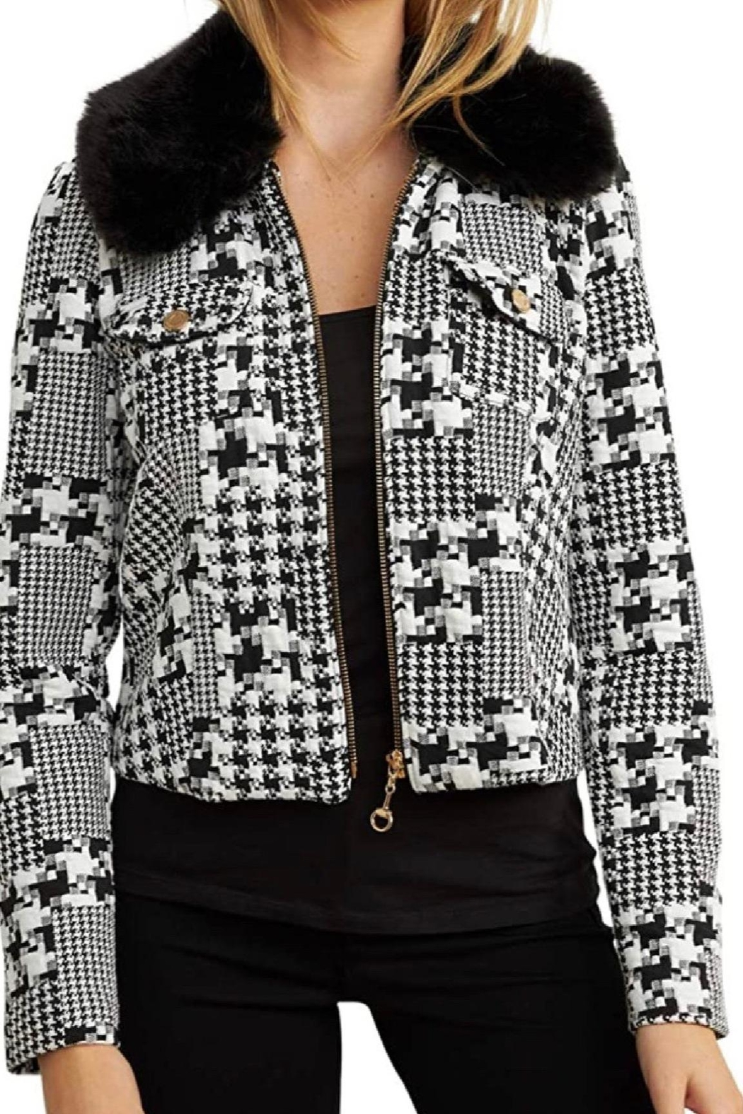 Joseph Ribkoff Textured Zip Jacket - Front Cropped Image