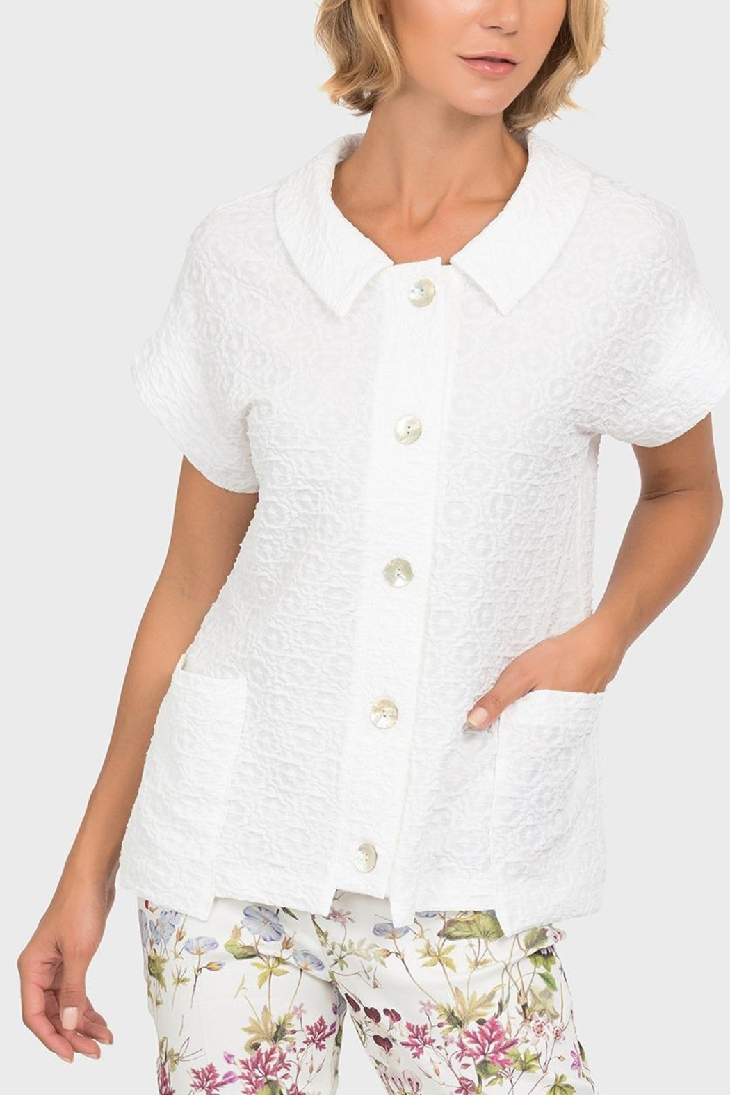 Joseph Ribkoff White Short-Sleeve Top - Main Image