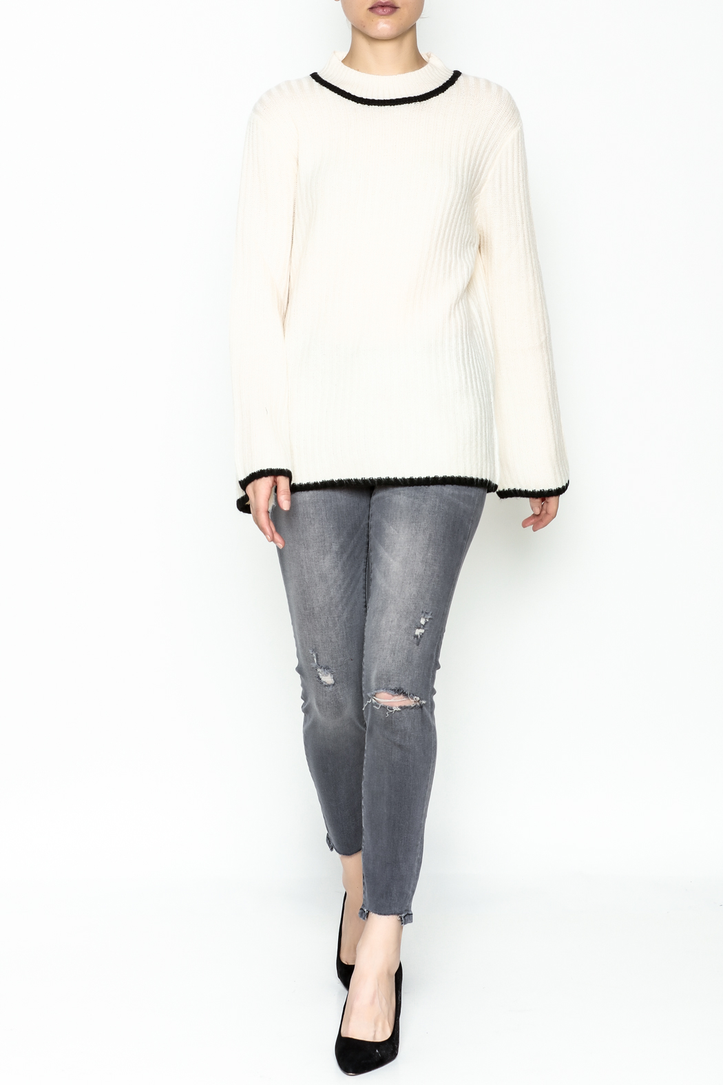 Josie Mock Neck Sweater - Side Cropped Image