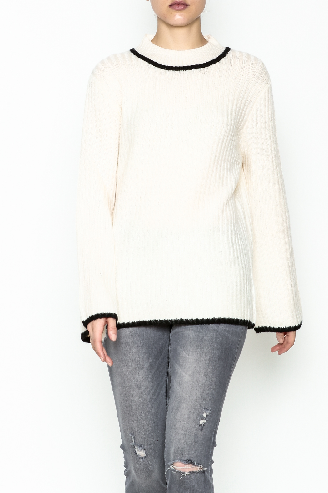 Josie Mock Neck Sweater - Front Cropped Image