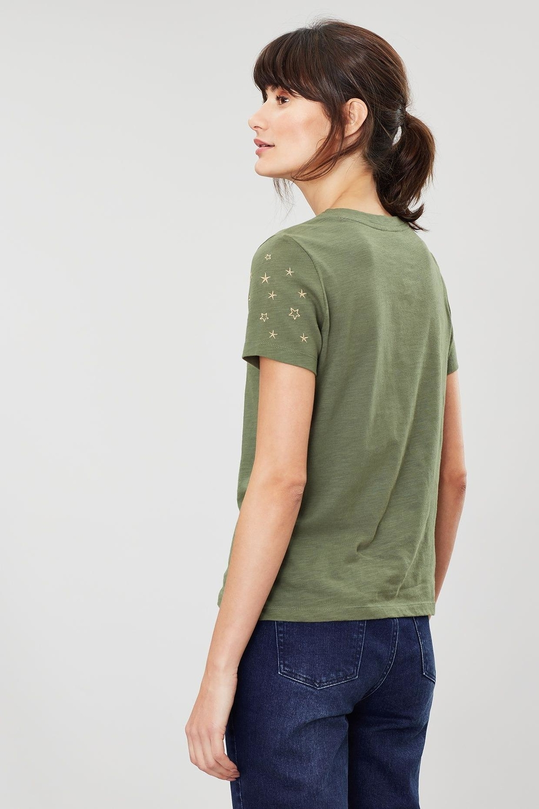Joules Embroidered Sleeve Tee - Side Cropped Image