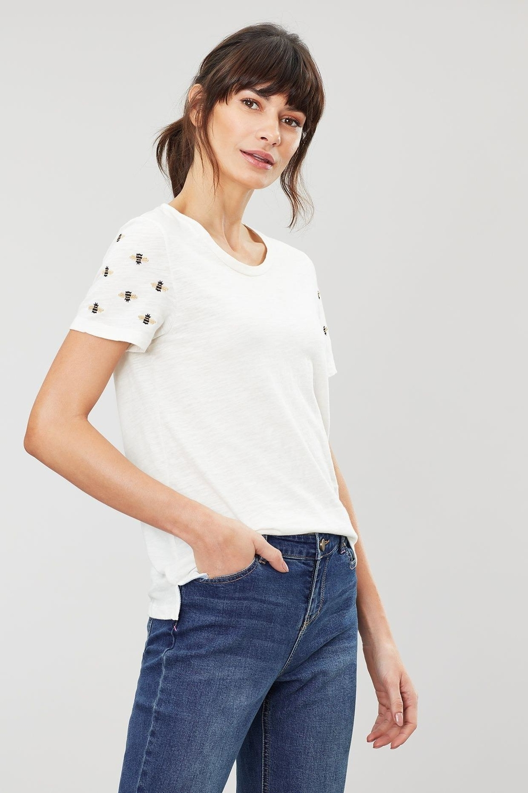Joules Embroidered Sleeve Tee - Front Full Image