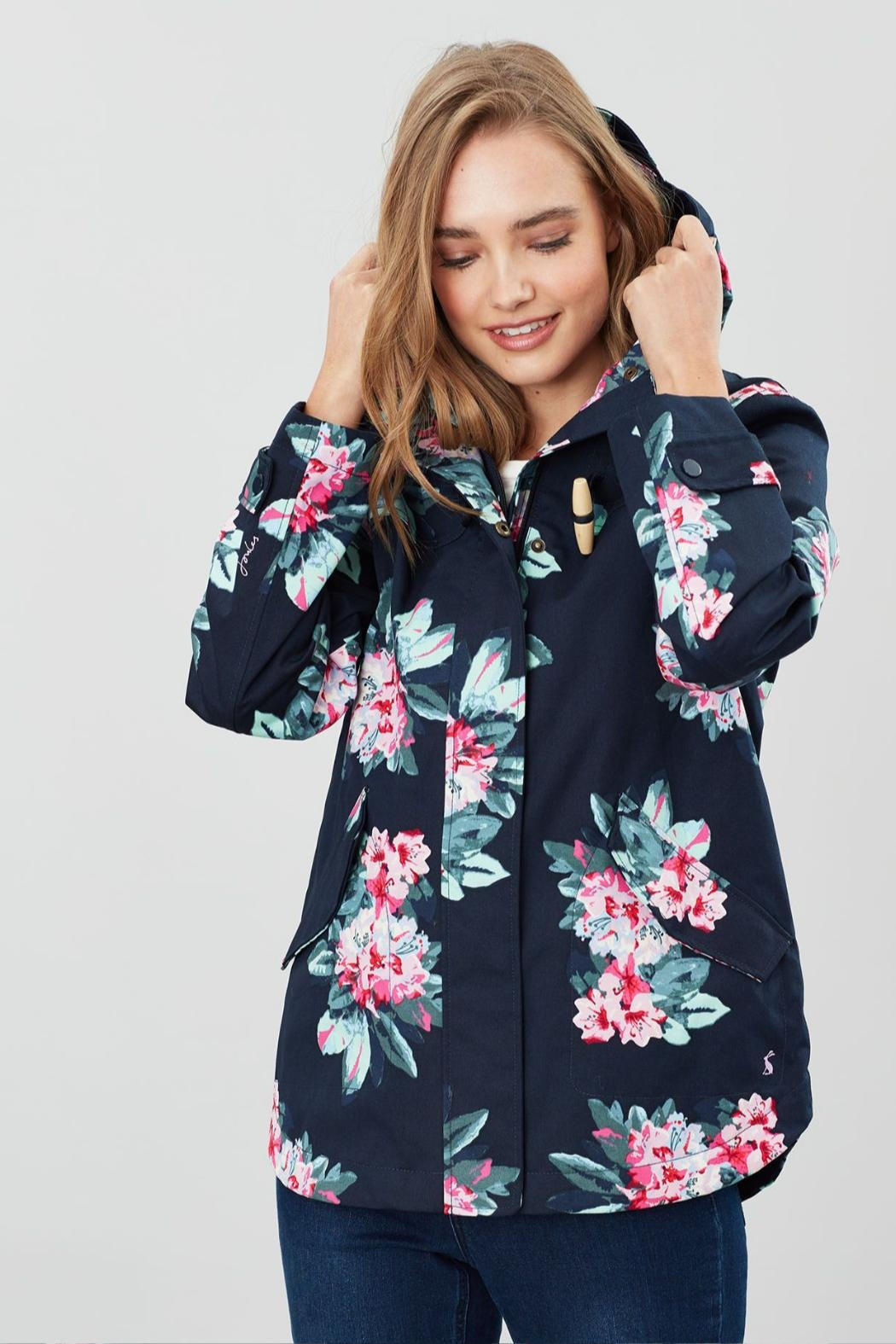 Joules Floral Print Jacket - Front Full Image