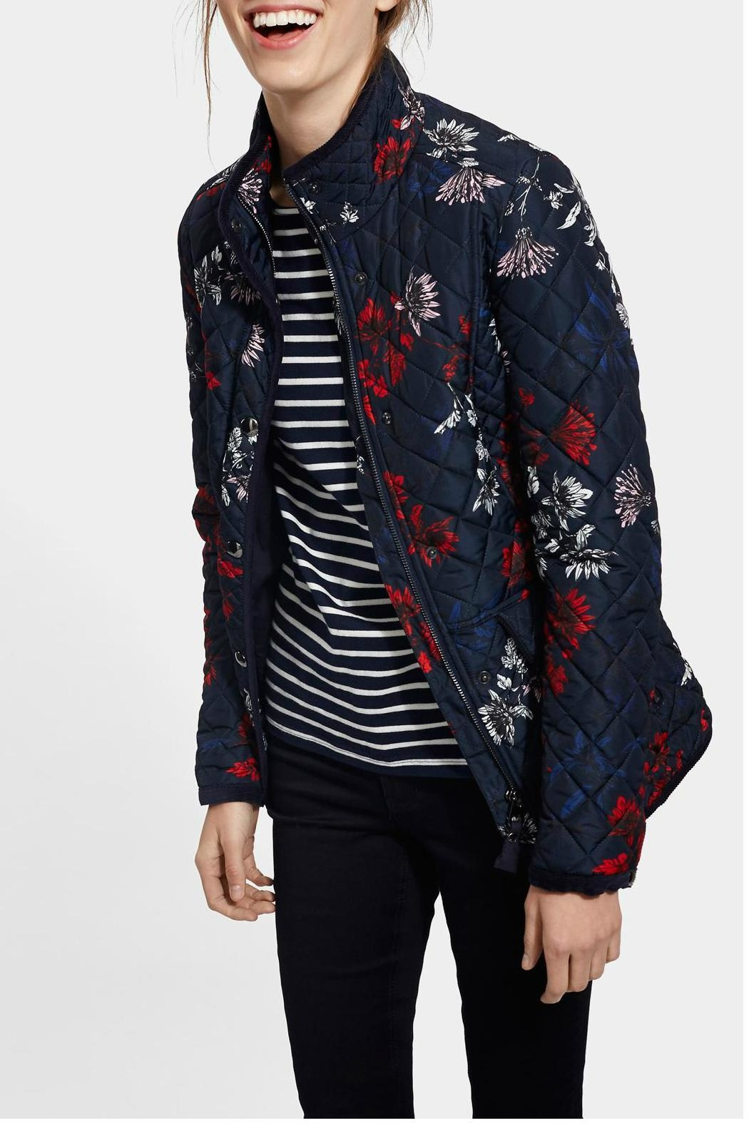 Joules Floral Quilted Jacket - Front Cropped Image