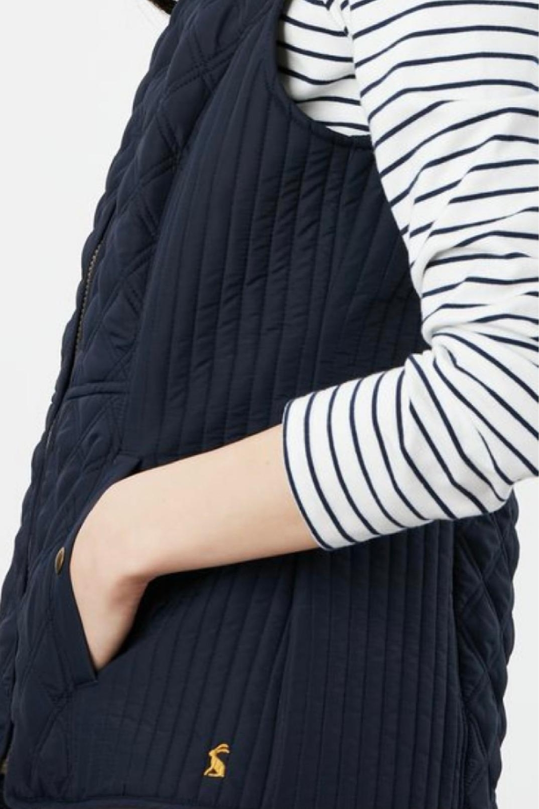 Joules Navy Fitted Vest - Back Cropped Image