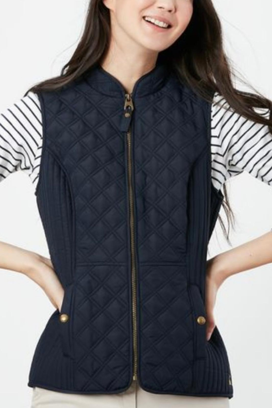 Joules Navy Fitted Vest - Front Full Image
