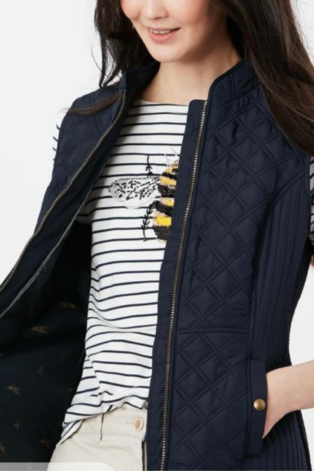 Joules Navy Fitted Vest - Side Cropped Image