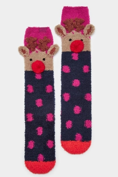 Joules Reindeer Fluffy Socks - Product List Image