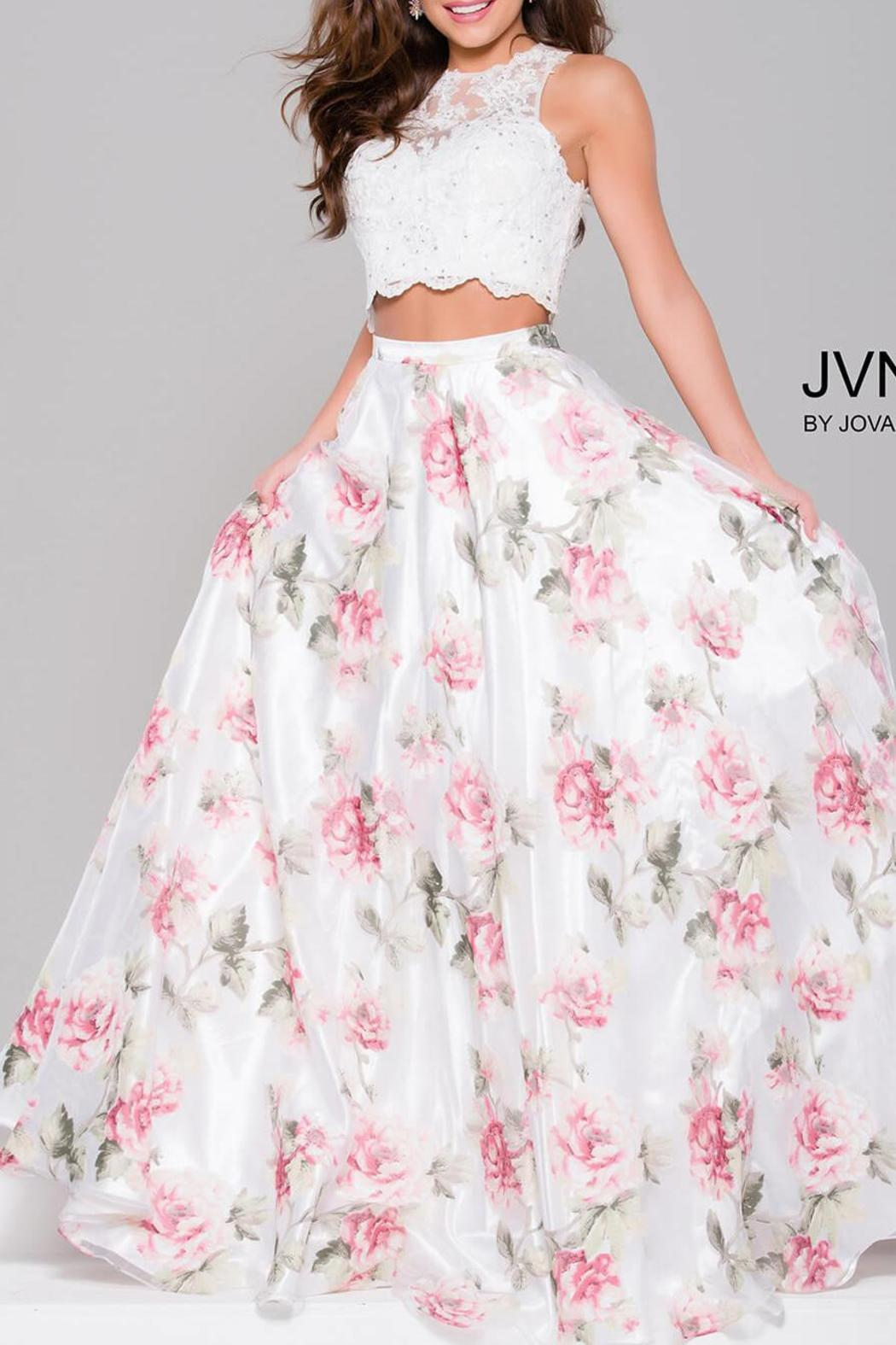Jovani Beaded Lace Gown - Main Image