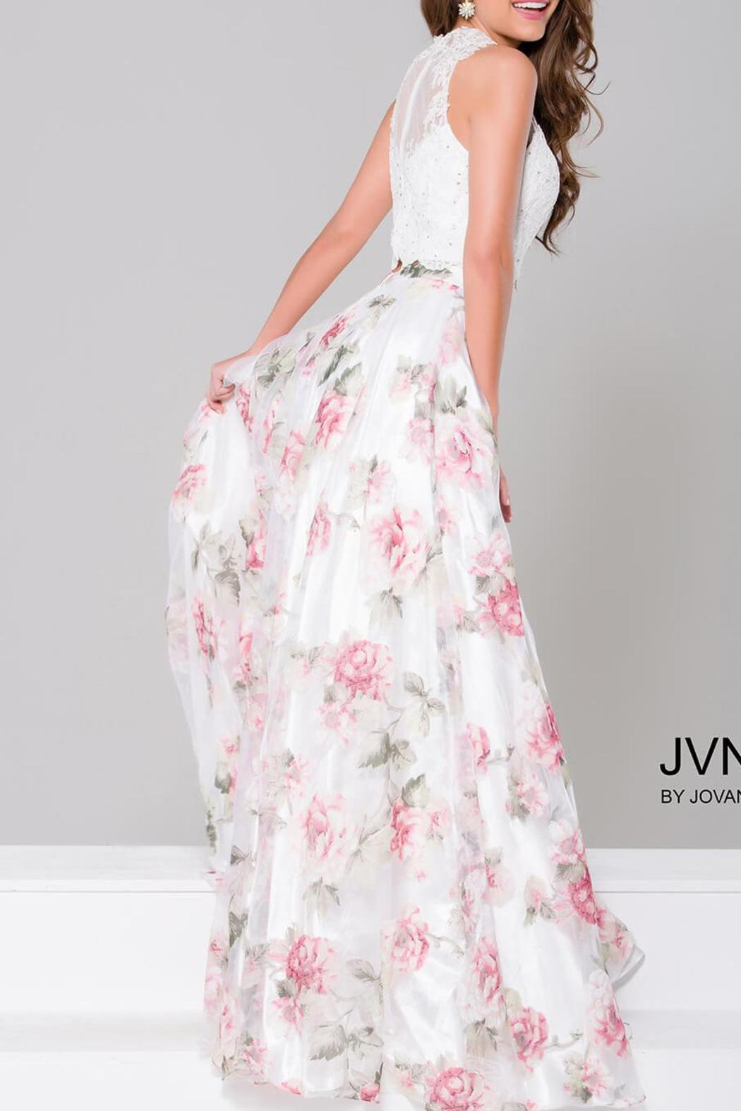 Jovani Beaded Lace Gown - Front Full Image