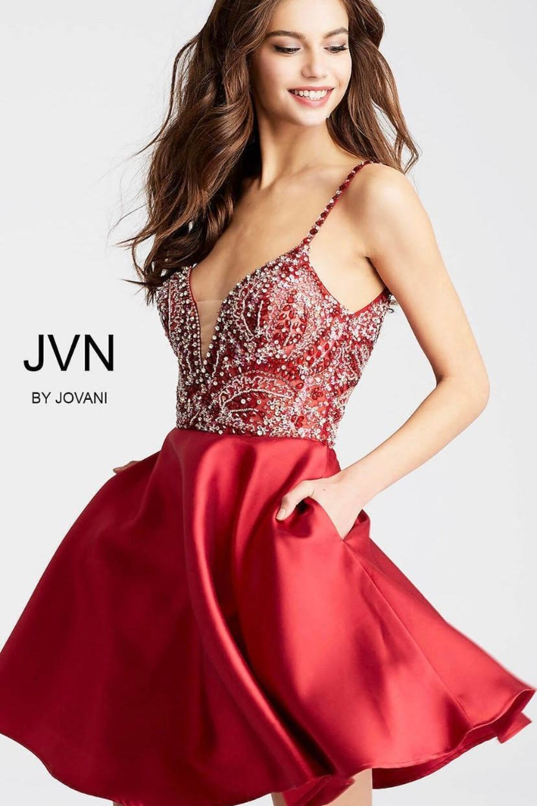 Jovani Red, Beaded Dress - Side Cropped Image