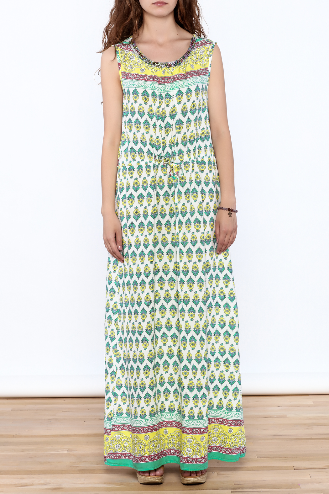 Joy & Co Printed Maxi Dress - Front Cropped Image