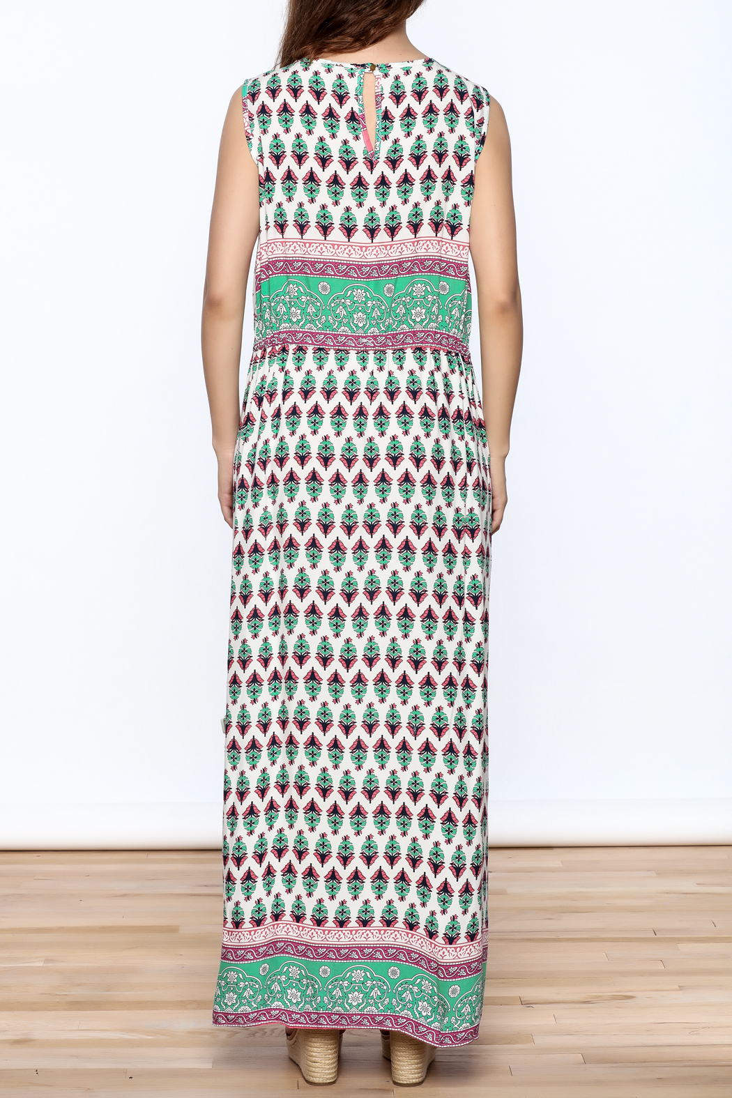Joy & Co Printed Maxi Dress - Back Cropped Image