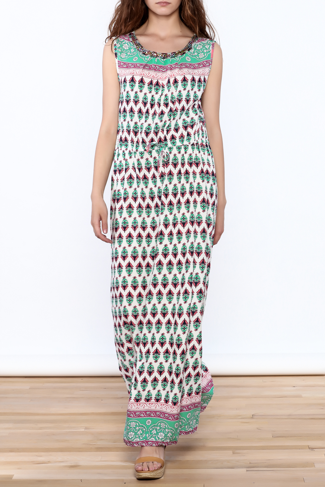 Joy & Co Printed Maxi Dress - Front Full Image