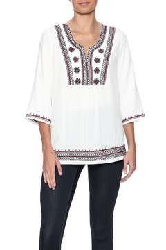 Joy Joy White Peasant Embroidered Top - Product List Image