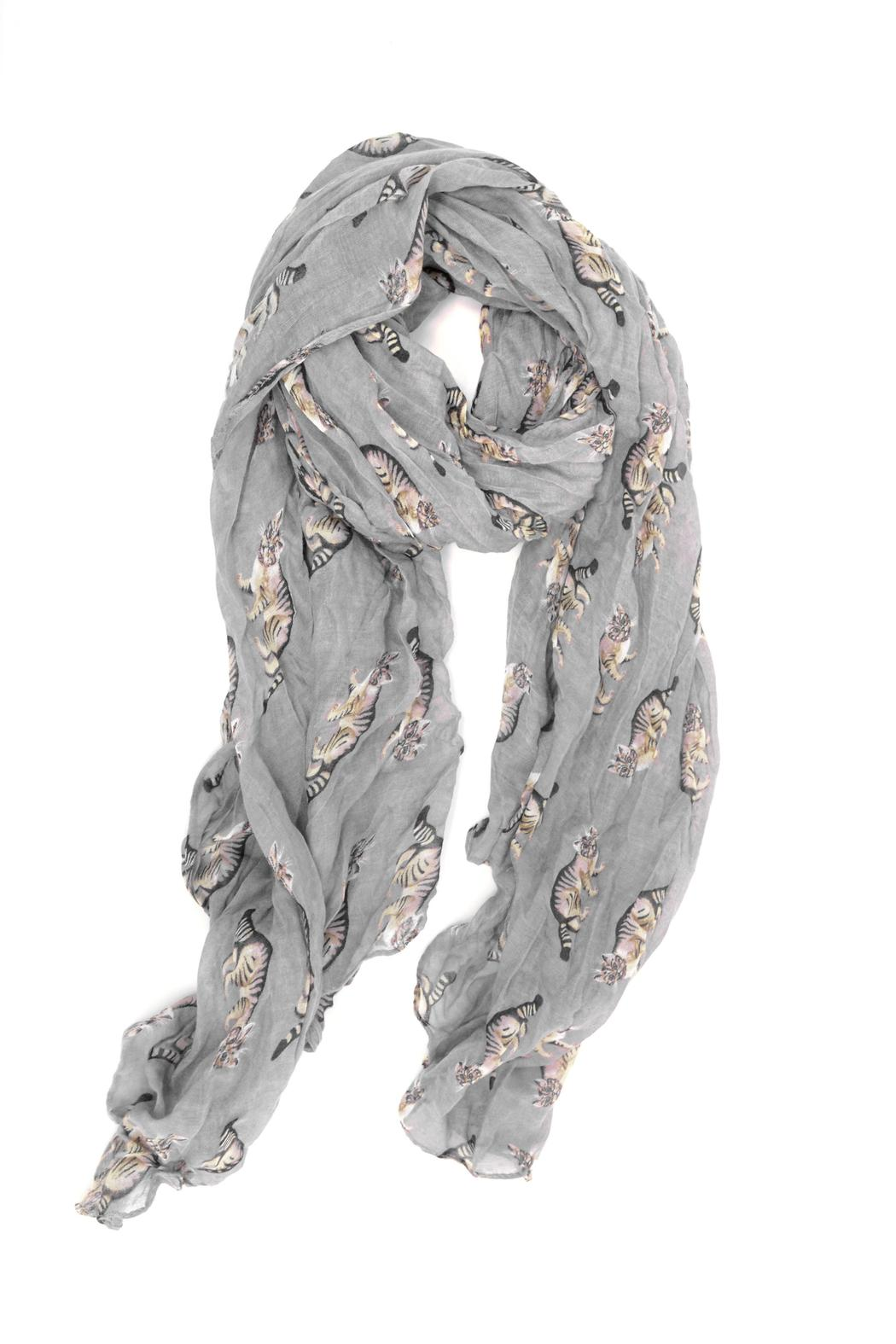 Joy Accessories Cat Print Scarf - Front Cropped Image