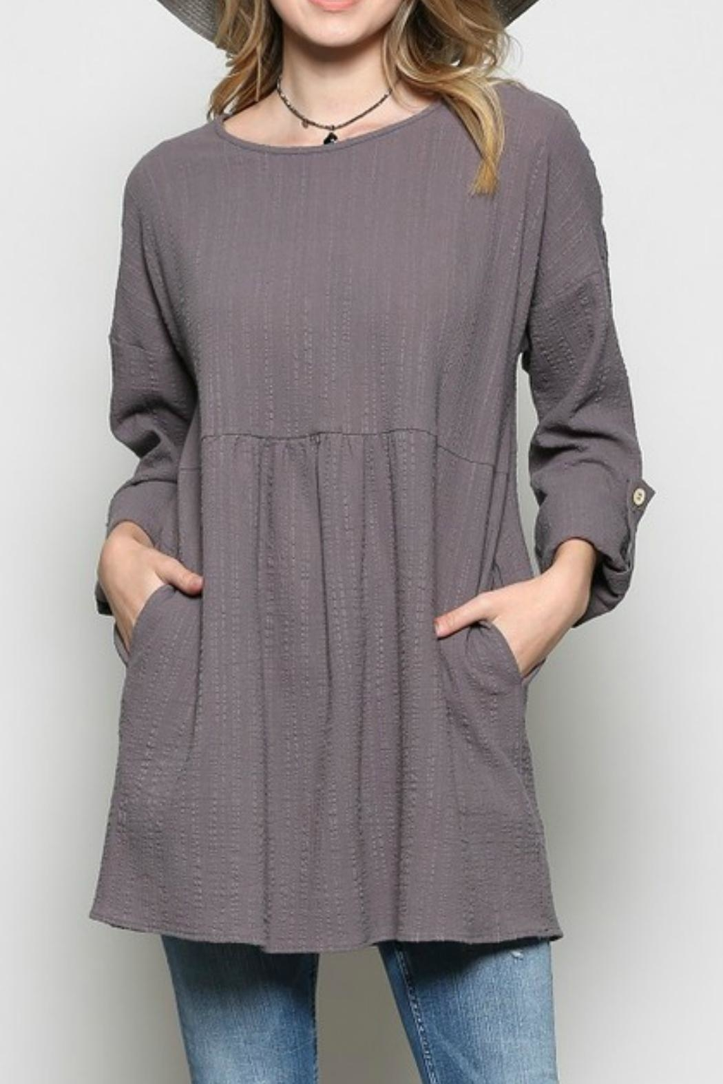 Joy Accessories Pocketed Peasant Tunic - Main Image