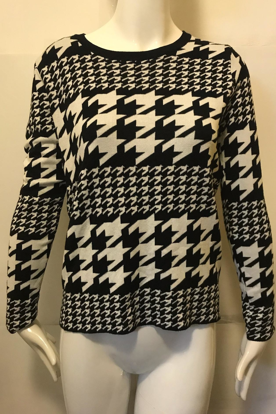 Joy Joy Houndstooth Crew-Neck Sweater - Main Image