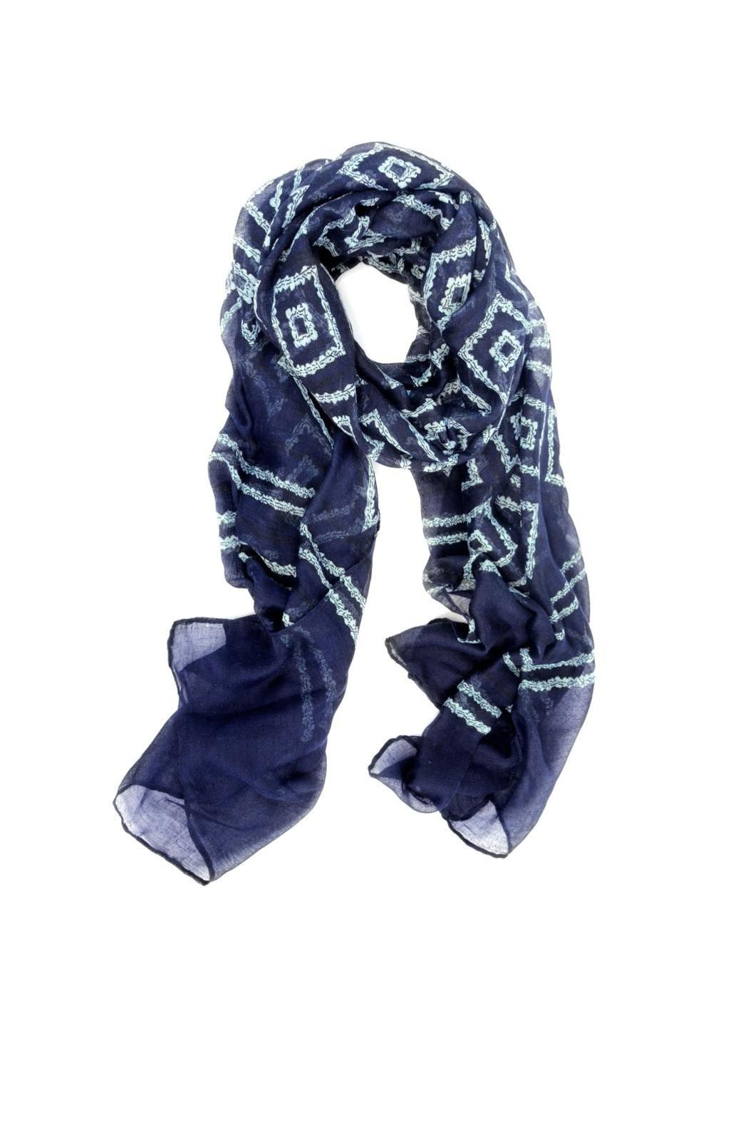 Joy Susan Accessories Navy Diamonds Scarf - Front Cropped Image
