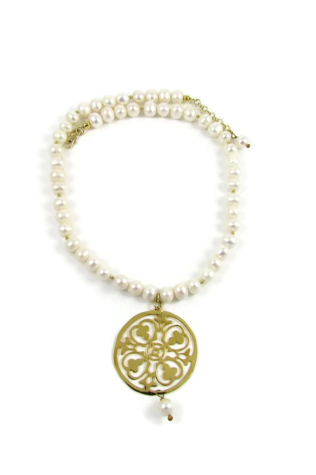 Joyas San Diego Pearl Medallion Necklace - Front Full Image