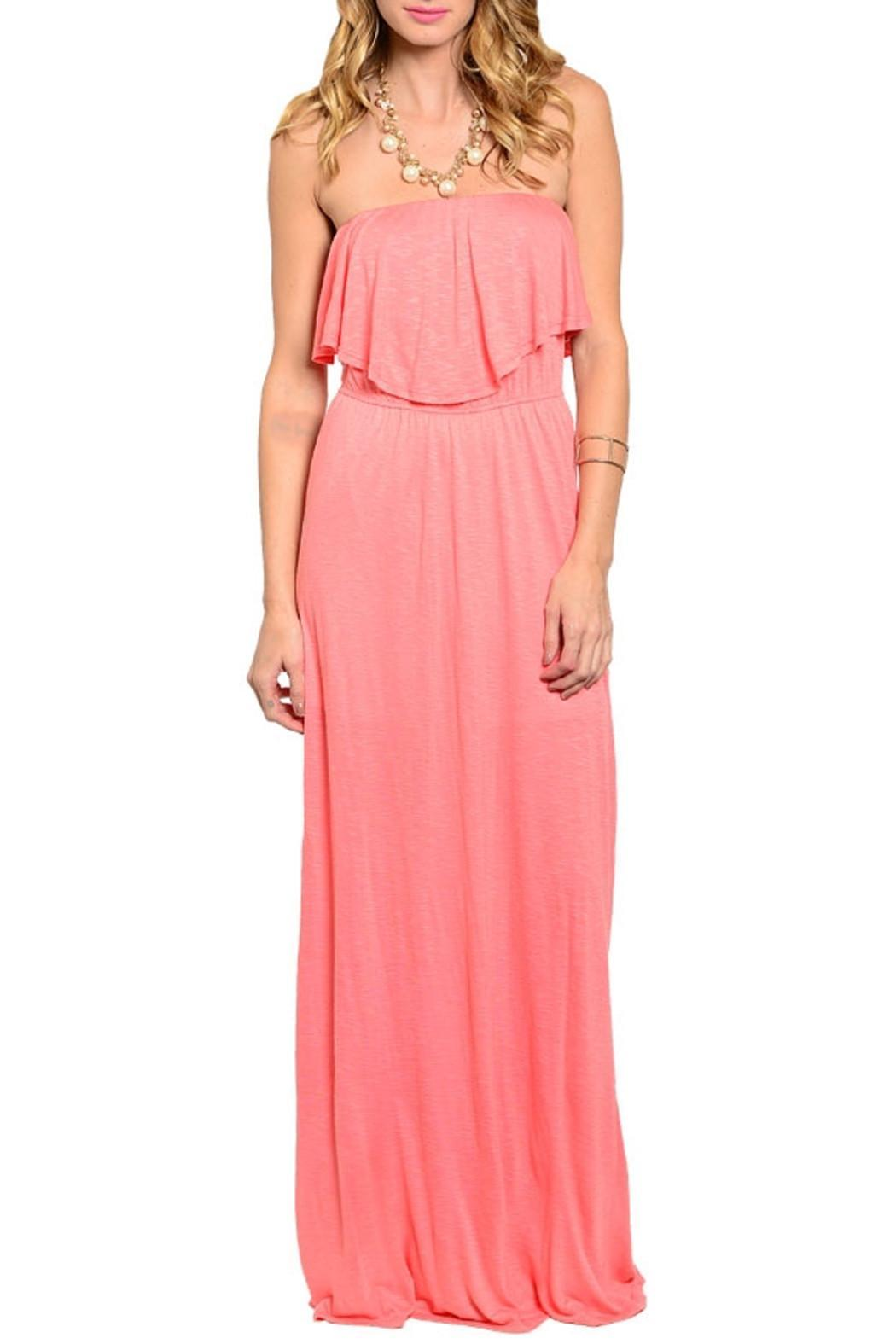 Joyce Coral Strapless Dress - Main Image