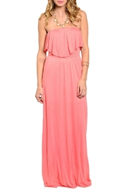 Joyce Coral Strapless Dress - Front cropped