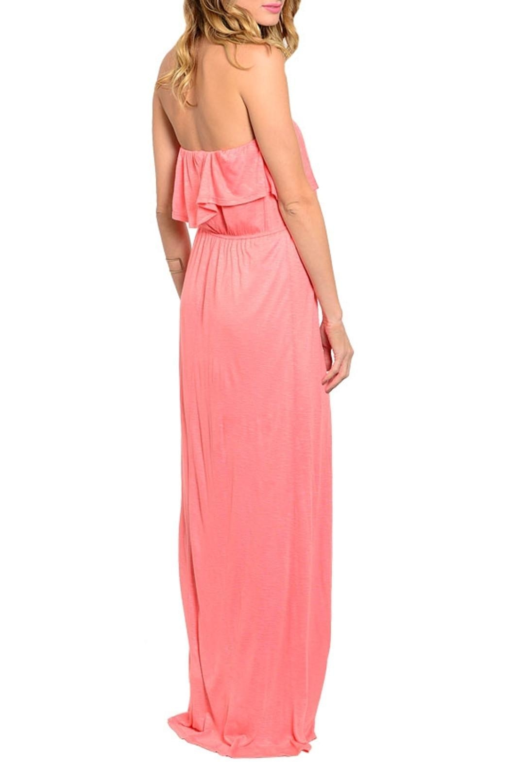 Joyce Coral Strapless Dress - Front Full Image