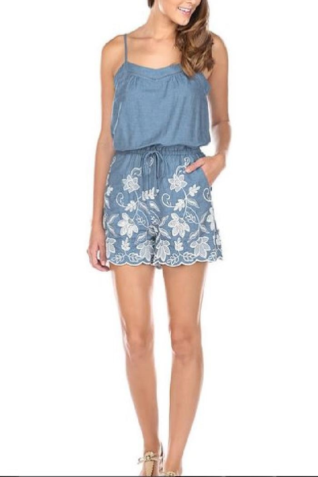 JoyJoy Embroidered Denim Romper - Front Cropped Image