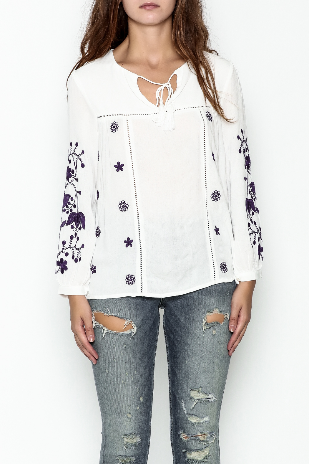 JoyJoy Embroidered Top - Front Full Image