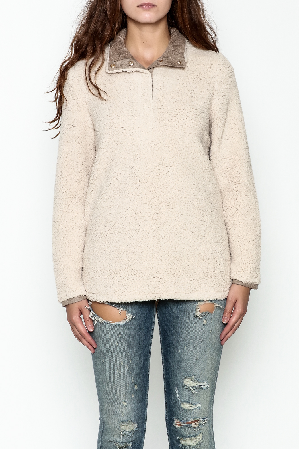 JoyJoy Faux Sherpa Pullover - Front Full Image