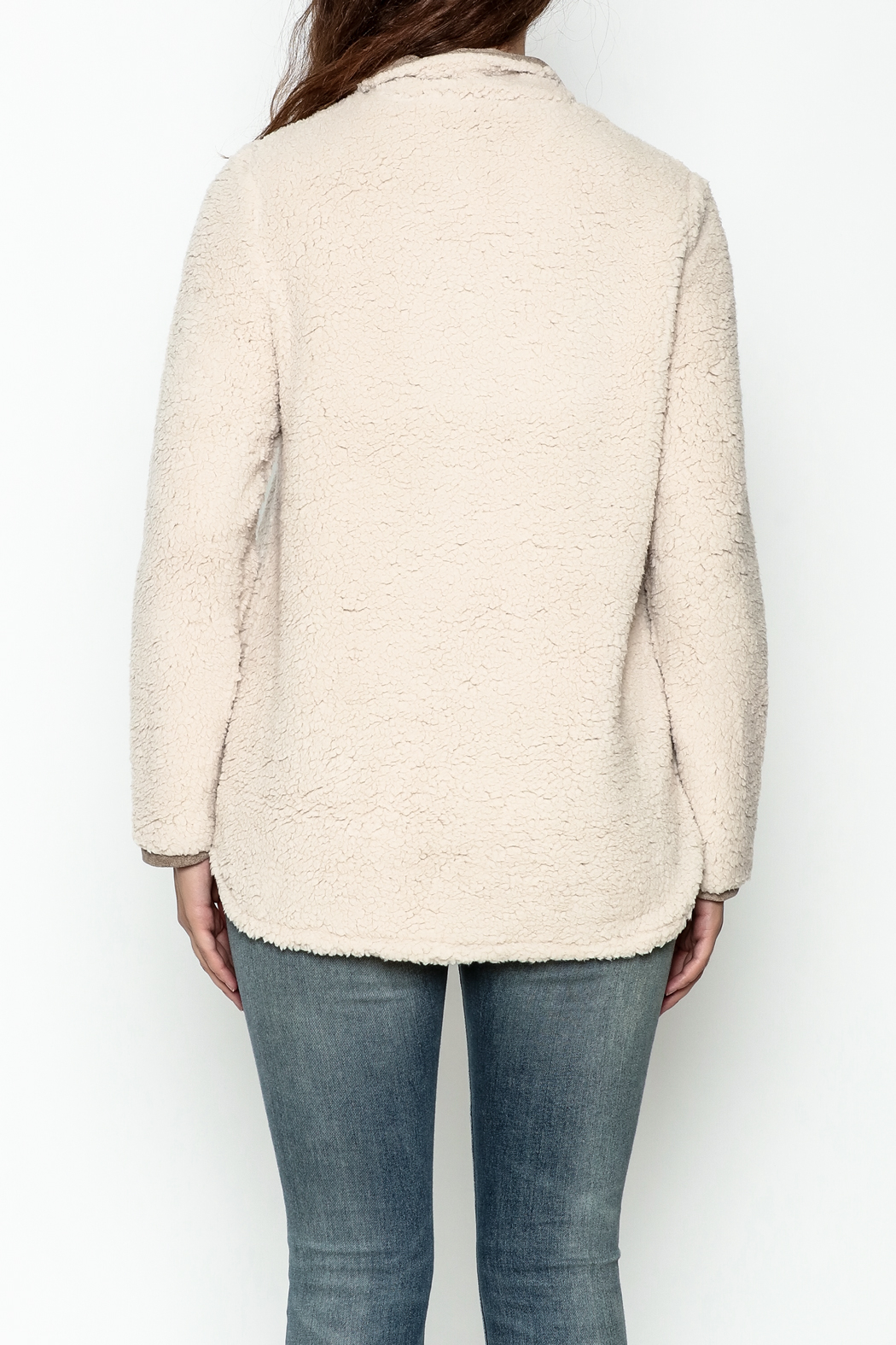 JoyJoy Faux Sherpa Pullover - Back Cropped Image