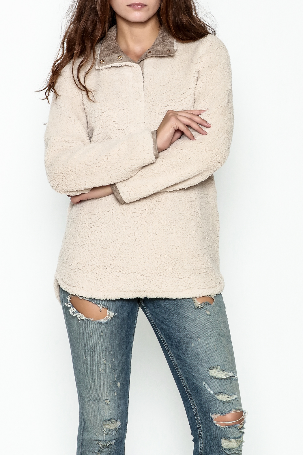 JoyJoy Faux Sherpa Pullover - Front Cropped Image