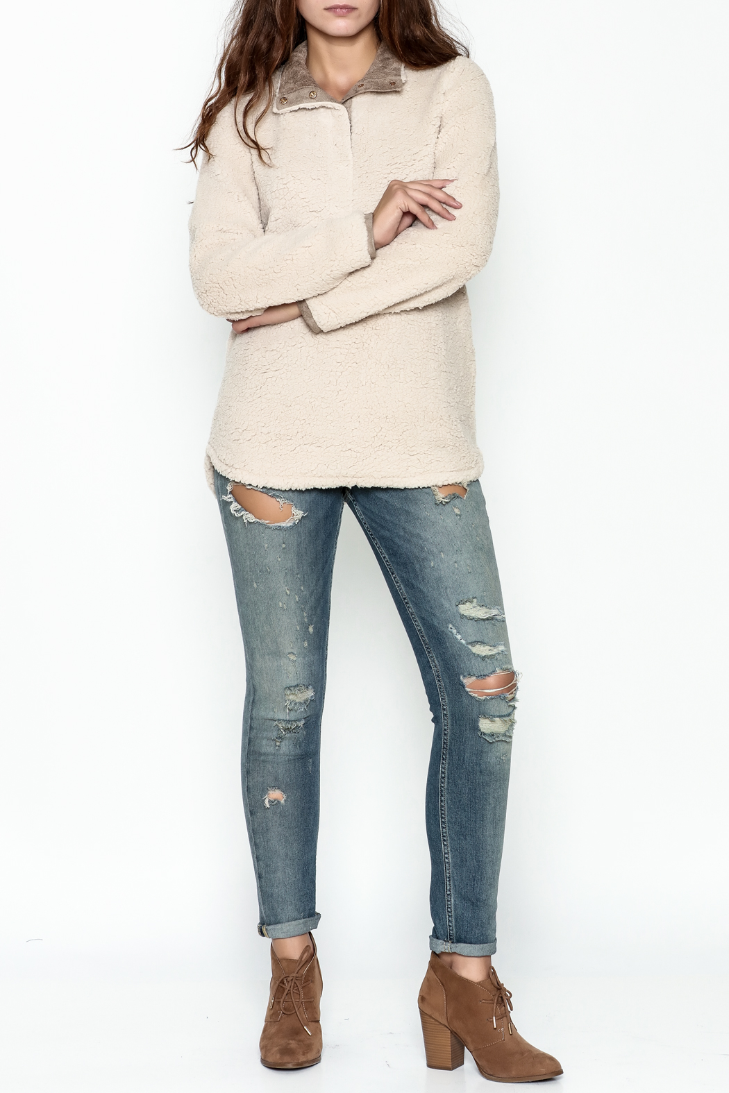 JoyJoy Faux Sherpa Pullover - Side Cropped Image