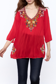 Johnny Was Red Embroidered Tunic Top - Product Mini Image