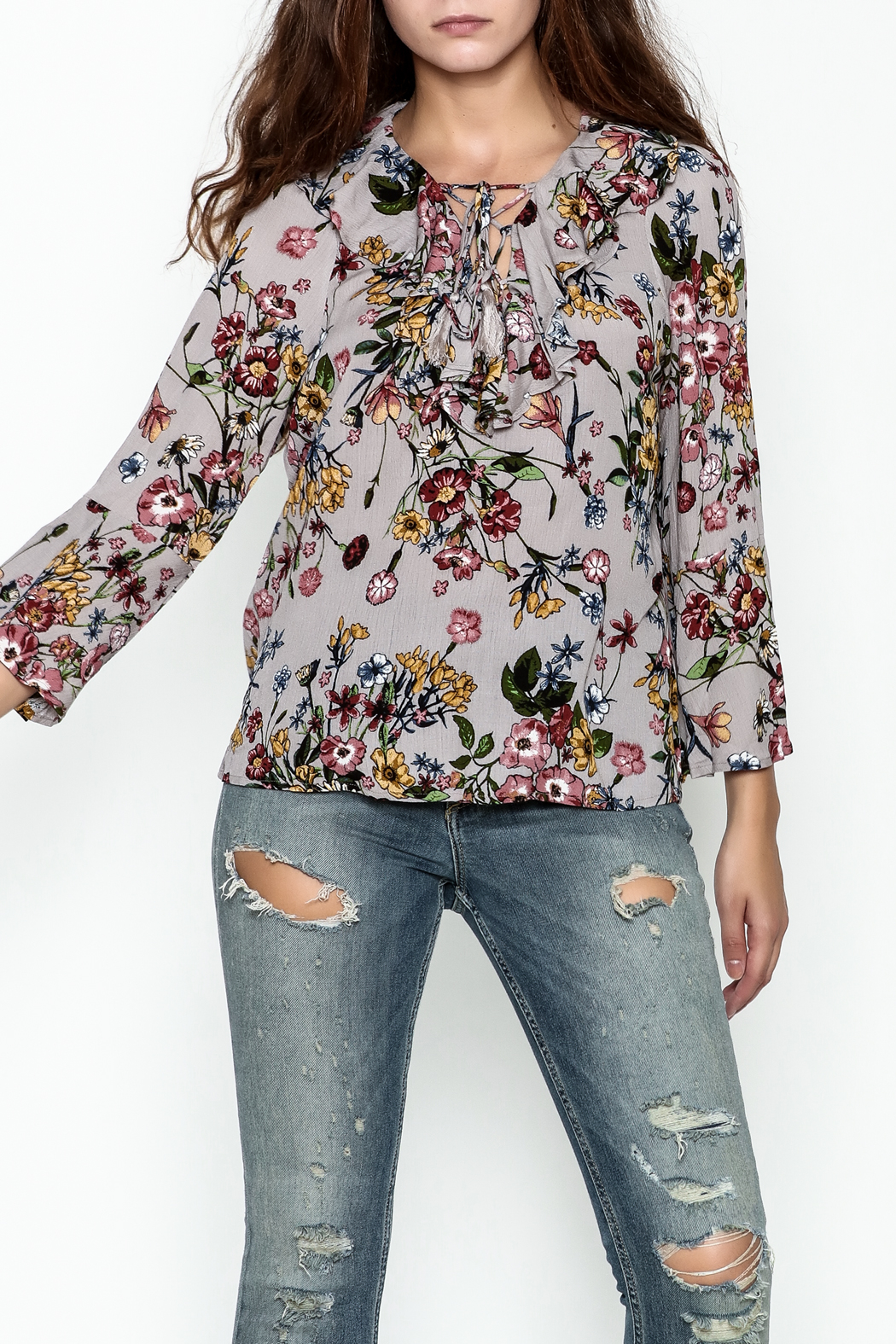JoyJoy Ruffled Lace Up Top - Main Image