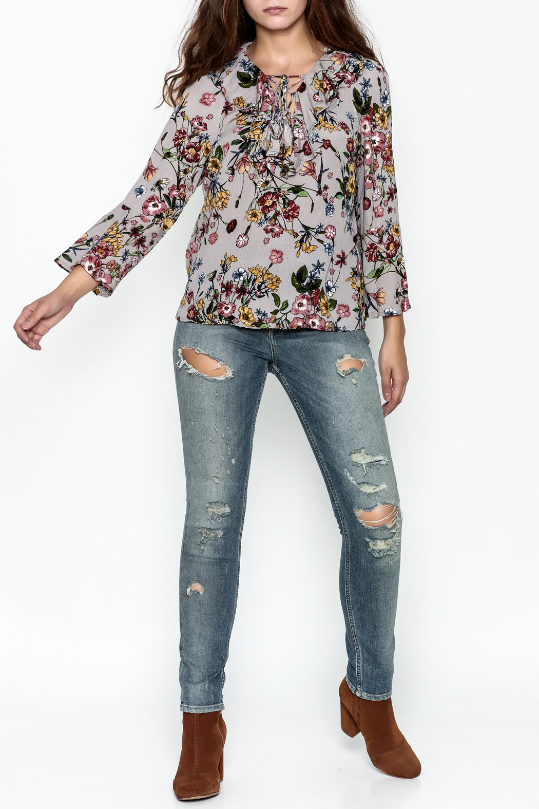 JoyJoy Ruffled Lace Up Top - Side Cropped Image