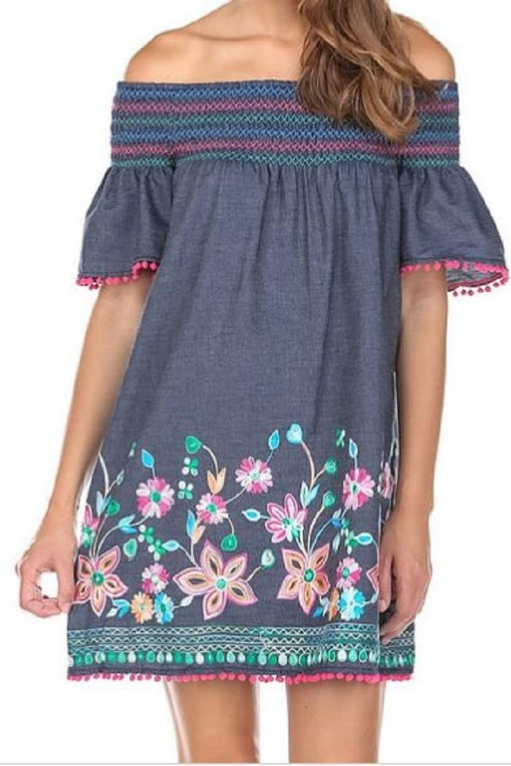 JoyJoy Smock Embroidery Dress - Front Cropped Image