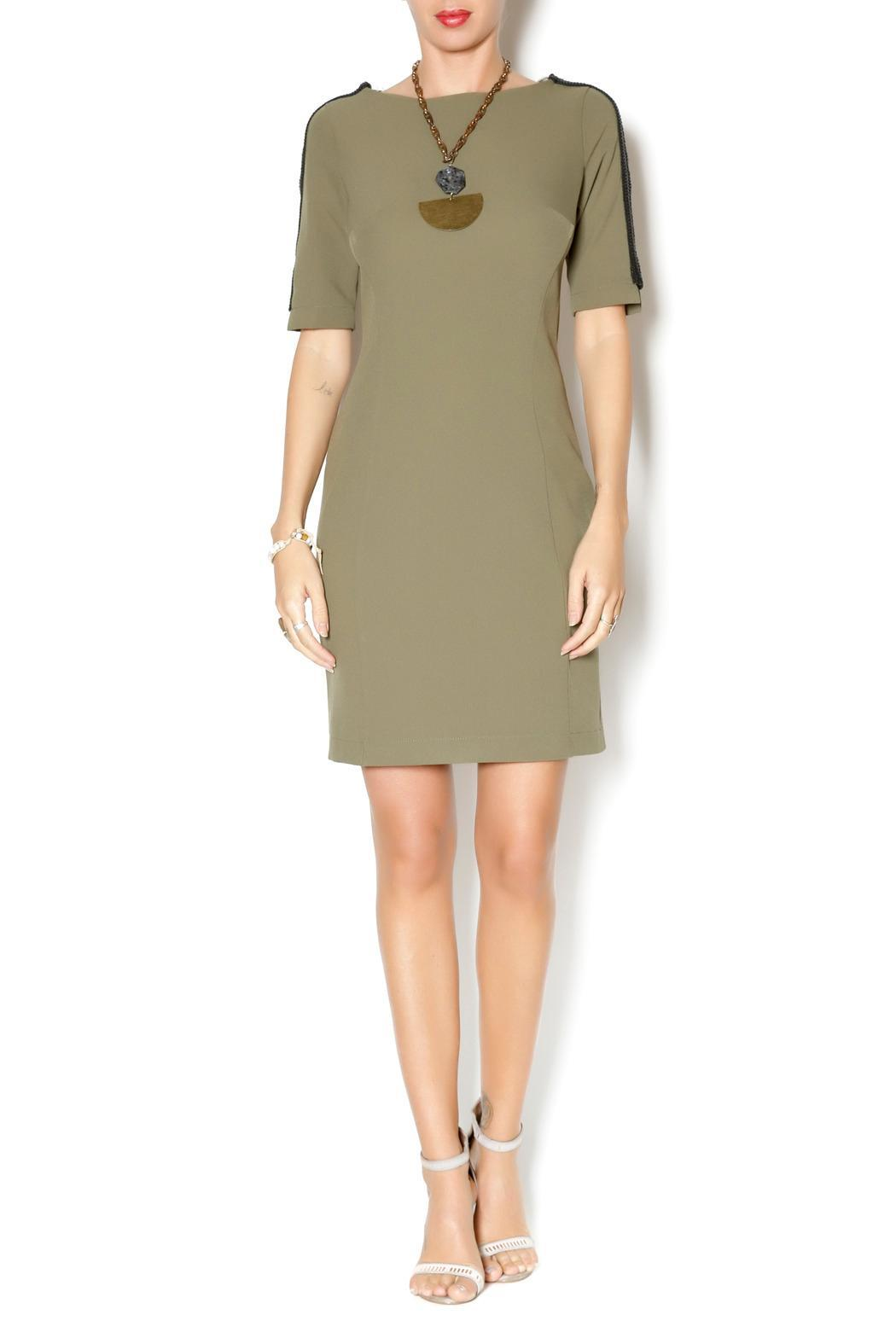Joymiss Short Sleeve Fitted-Dress - Front Full Image