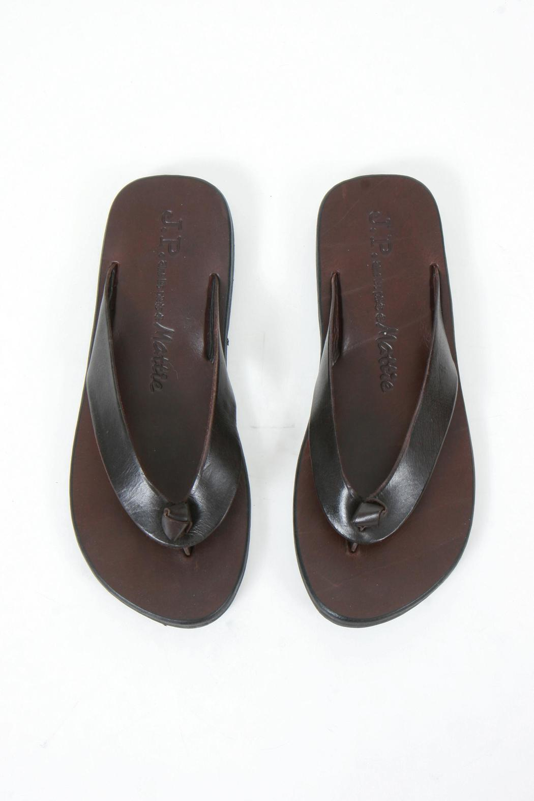 JP & Mattie Brown Leather Thongs - Front Full Image