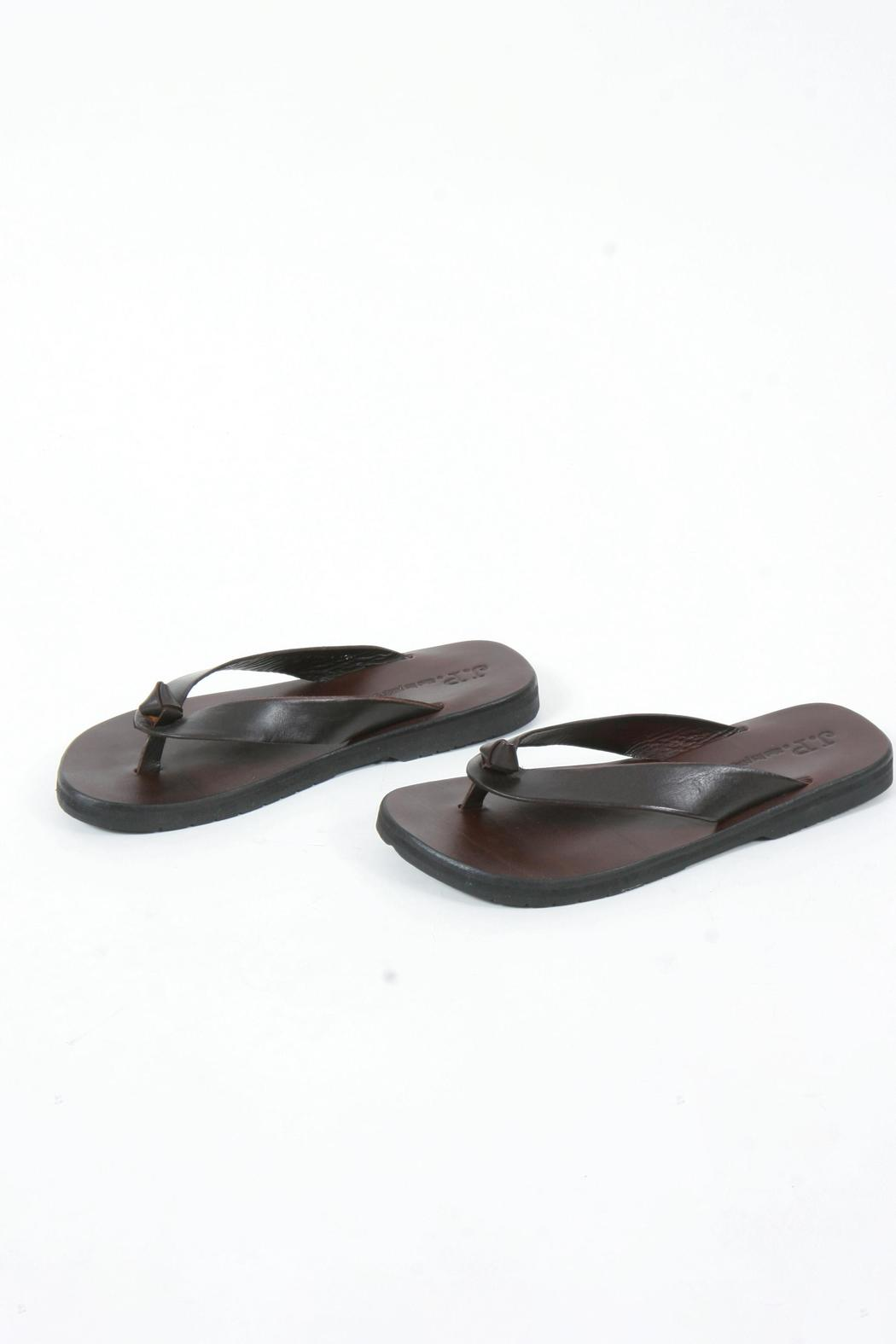 JP & Mattie Brown Leather Thongs - Main Image