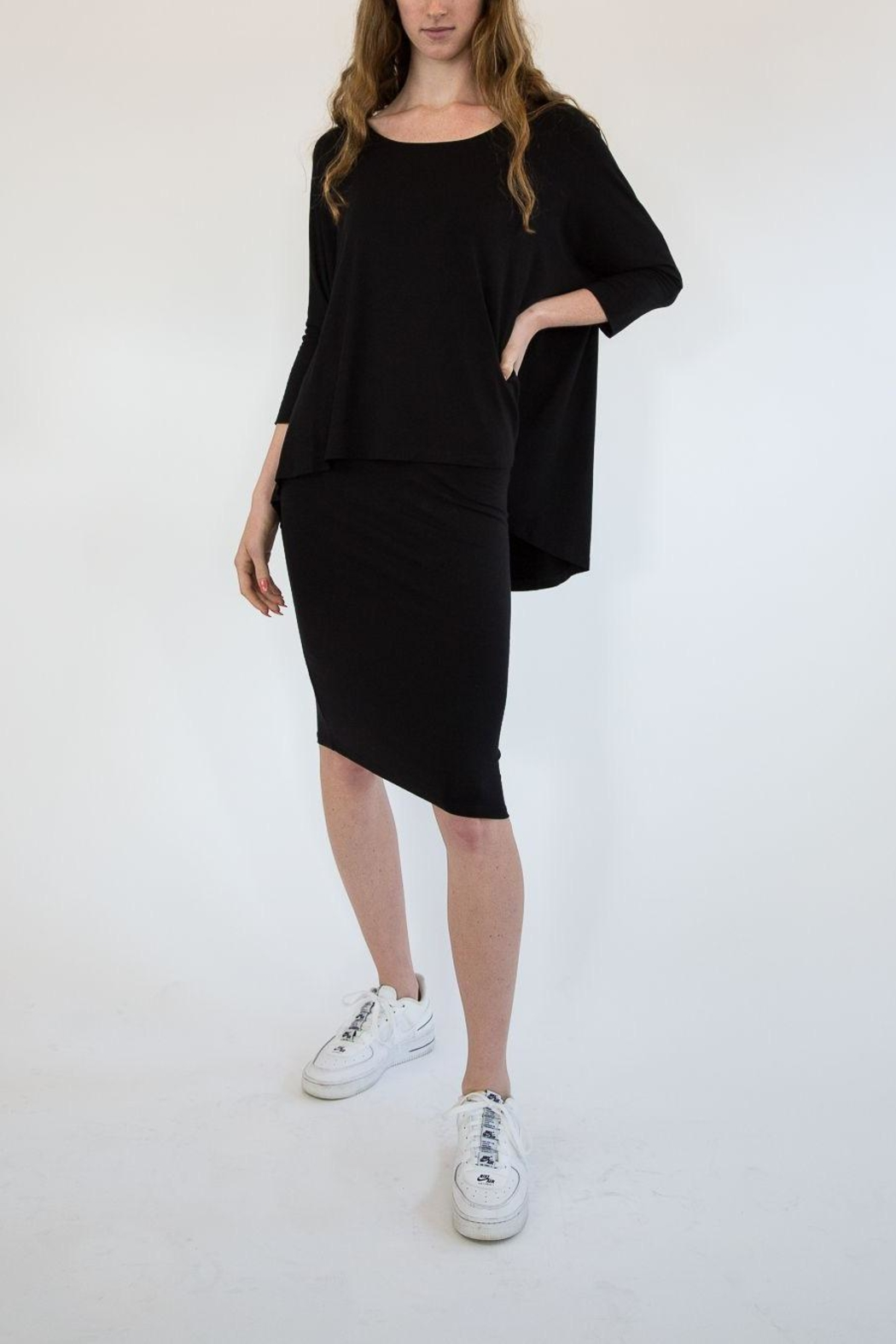 Isle Apparel One Piece Knit Dress With Fitted Skirt With a Loose Overlay Top - Front Cropped Image