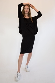 Isle Apparel One Piece Knit Dress With Fitted Skirt With a Loose Overlay Top - Side cropped