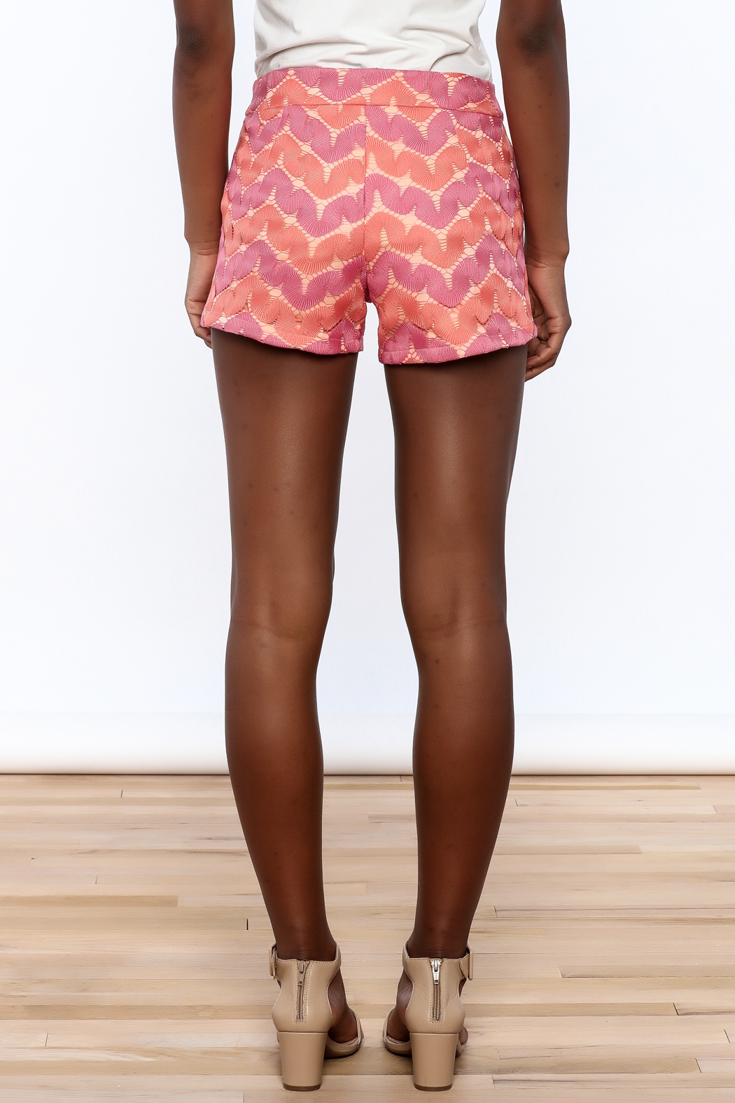 Judith March Bright Crochet Shorts - Back Cropped Image