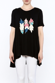 Judith March Feather Applique Top - Front full body