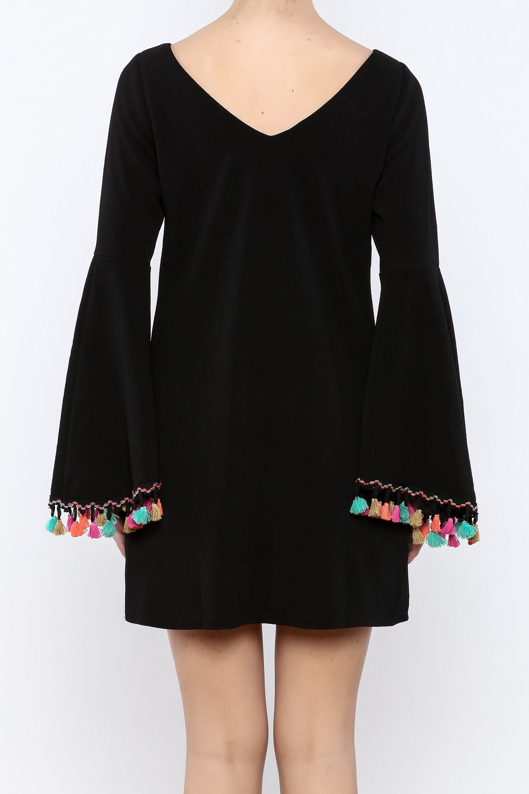 Judith March Festive Bell-Sleeved Dress - Back Cropped Image