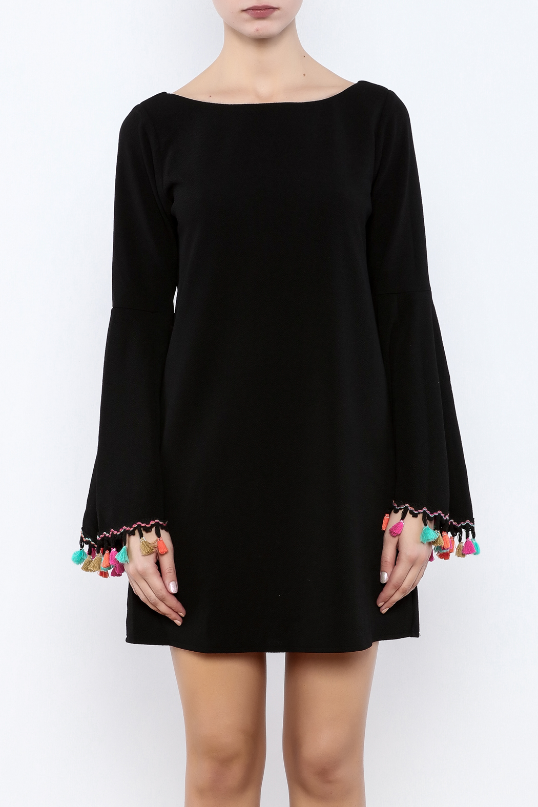 Judith March Festive Bell-Sleeved Dress - Side Cropped Image