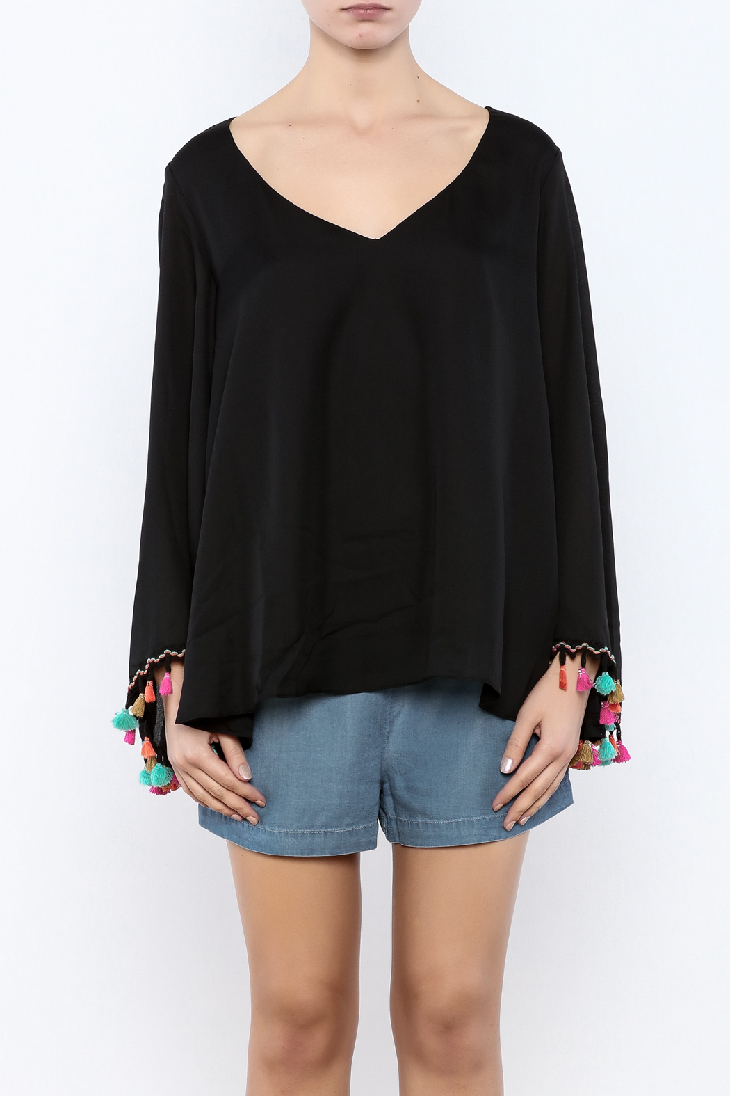 Judith March Festive Bell-Sleeved Top - Side Cropped Image