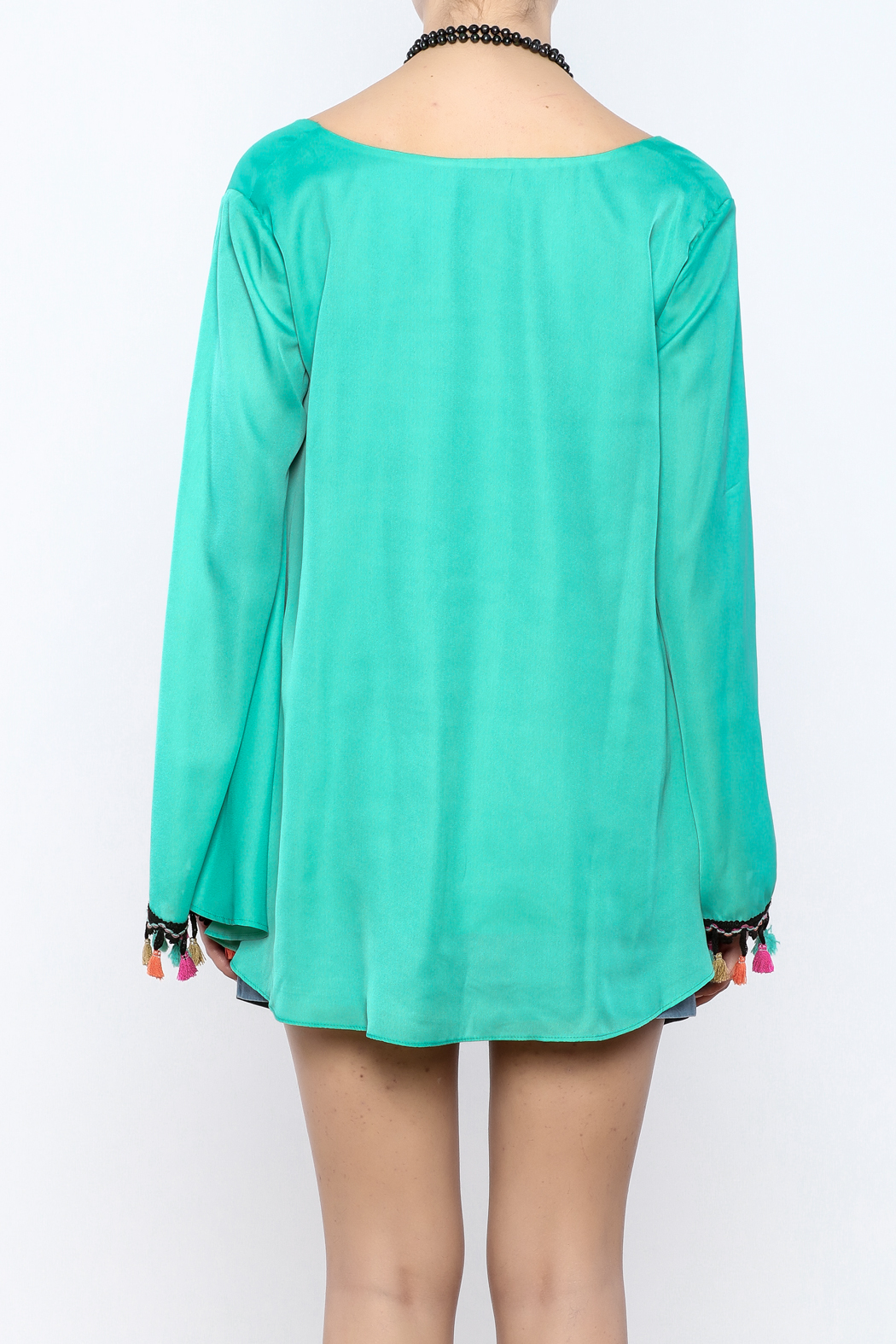Judith March Festive Bell-Sleeved Top - Back Cropped Image