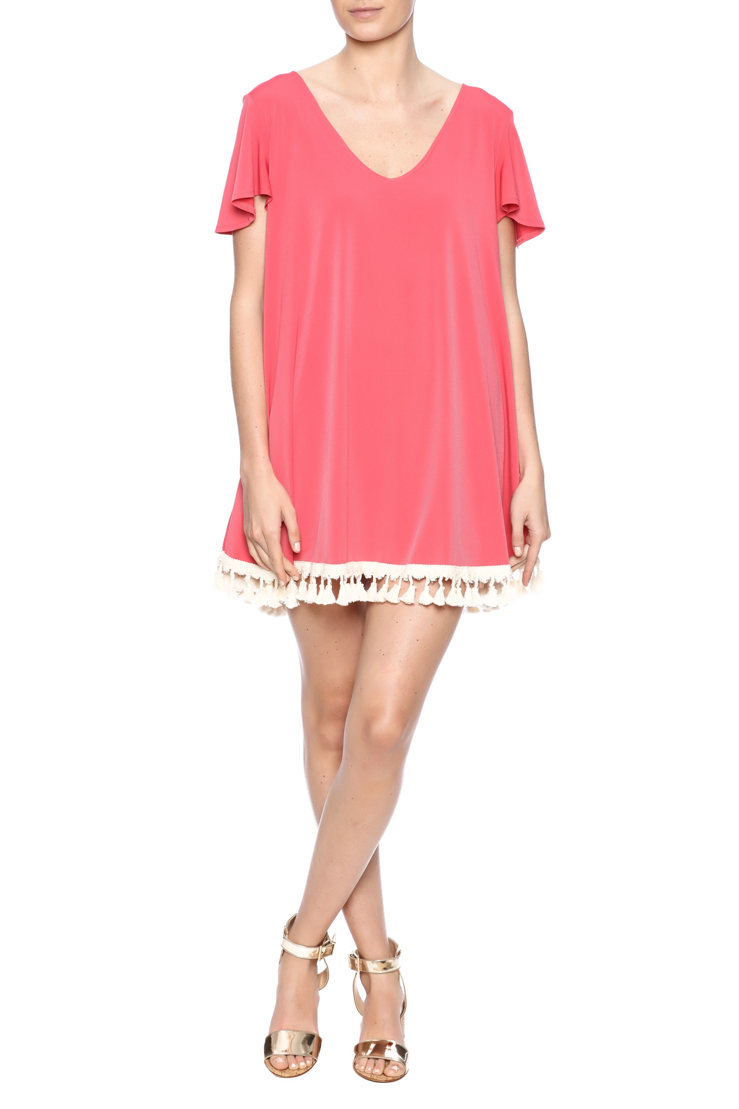 Judith March Flutter Sleeve Dress - Front Full Image
