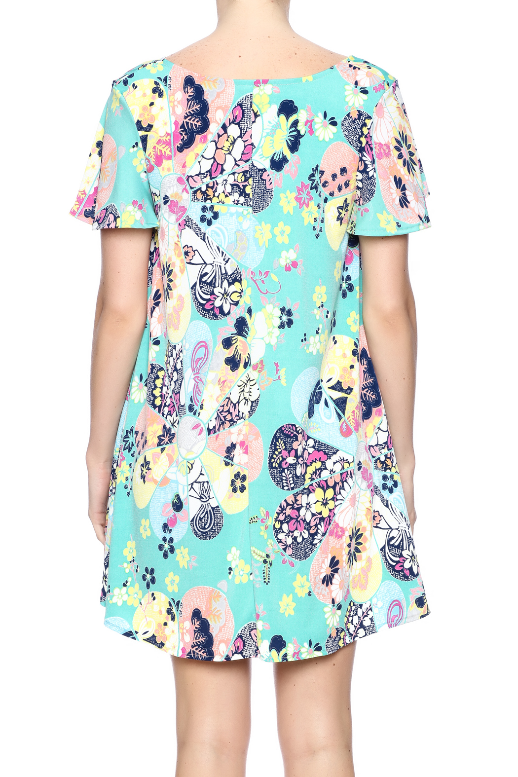 Judith March Japanese Floral Dress - Back Cropped Image